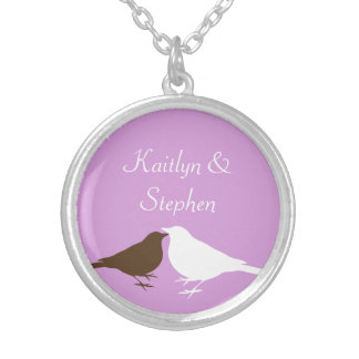 Purple love birds pair keepsake chain jewelry