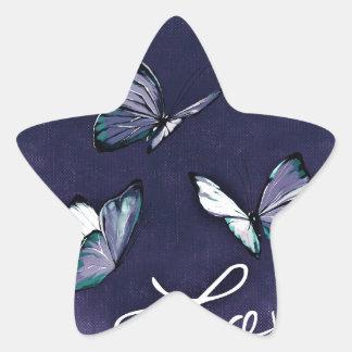 Purple Love Butterflies Star Sticker