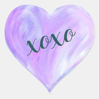 Purple Love Heart Xoxo Watercolor Painted Heart Sticker