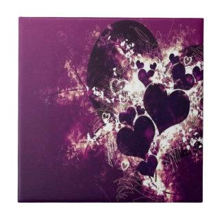 Purple Love Hearts Small Square Tile