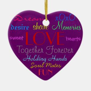 Purple Love Words Ornament