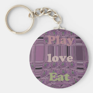 Purple  Loves &  Play Eat Africa South Traditional Basic Round Button Key Ring