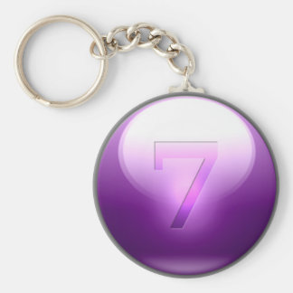 Purple Lucky 7 Basic Round Button Key Ring