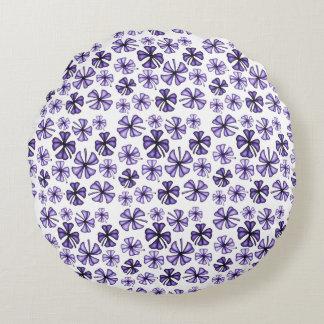 Purple Lucky Shamrock Clover Round Cushion