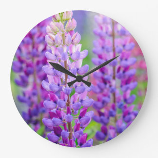 Purple Lupin Flowers Wall Clock