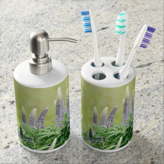 Purple Lupine Flowers Soap Dispenser And Toothbrush Holder