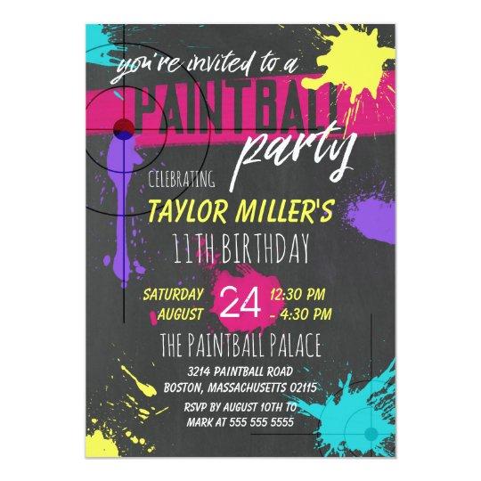 Purple & Magenta Paint Splash Paintball Party Card