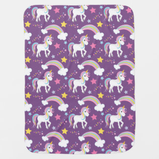 Purple Magical Rainbow Unicorn Baby Baby Blanket