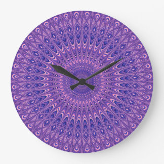 Purple mandala large clock