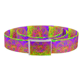 purple mandala pattern yellow striped belt