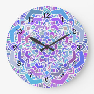 Purple mandala wall clock, bold colorful decor large clock