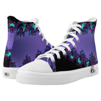 Purple Mandelbrot Fractal Design Printed Shoes