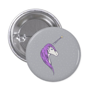 Purple Mane White Unicorn With Star Horn 3 Cm Round Badge