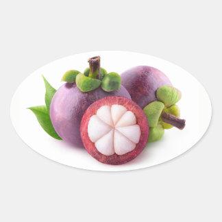 Purple mangosteens oval sticker