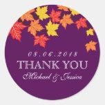 Purple Maple Leaf Fall Autumn Wedding Sticker