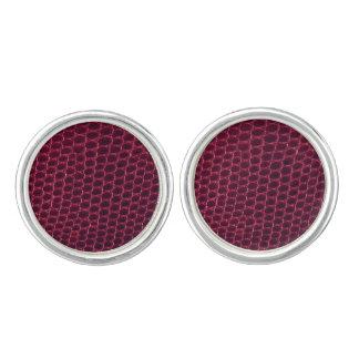 Purple / maroon / red snake, skin (faux leather) cufflinks