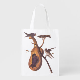 Purple Martin Audubon Birds with Gourd Home Reusable Grocery Bag