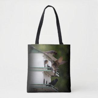 Purple Martin Feeding Time Tote Bag