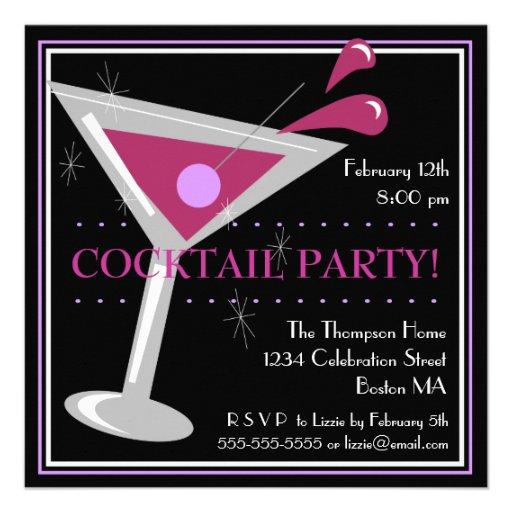 Purple Martini Cocktail Party Invitation