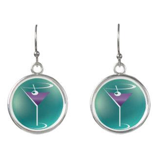 Purple Martini Glass Earrings -  Bartender Jewelry