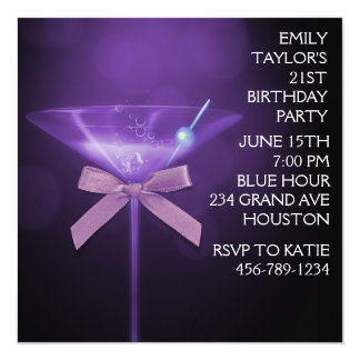 Purple Martini Womans Purple Birthday Party 13 Cm X 13 Cm Square Invitation Card