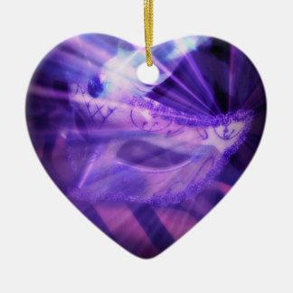 Purple Masquerade Love Ceramic Ornament