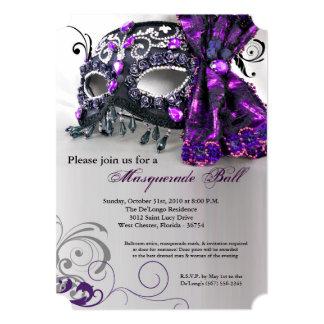 Purple Masquerade Mask Ball Costume Halloween 13 Cm X 18 Cm Invitation Card