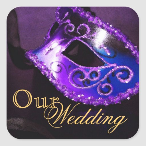 Purple Masquerade Our Wedding Sticker