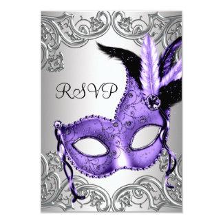 Purple Masquerade Party RSVP Invite