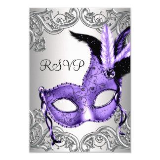 Purple Masquerade Party RSVP 9 Cm X 13 Cm Invitation Card