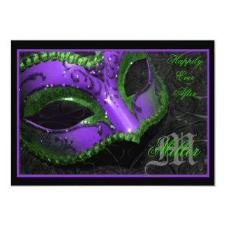 "Purple Masquerade Renaissance Wedding Invitation 5"" X 7"" Invitation Card"