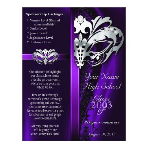 Purple Masquerade Silver Class Reunion Flyer