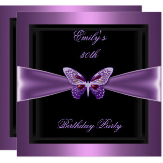 Purple Mauve Black Butterfly 30th Birthday Party Card