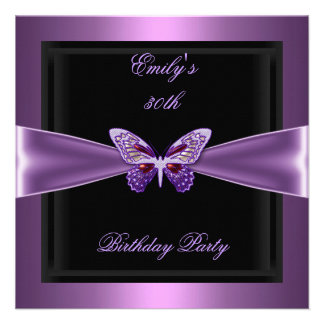Purple Mauve Black Butterfly 30th Birthday Party Custom Invites