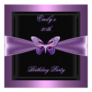 Purple Mauve Black Butterfly 30th Birthday Party Custom Invites