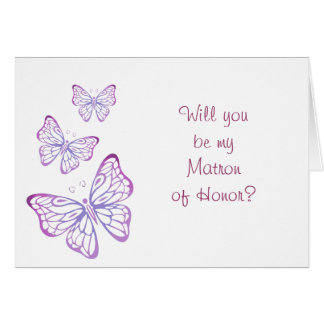 Purple Mauve Pink Classy Butterfly Matron of Honor Card