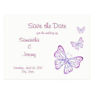 Purple Mauve Pink Classy Butterfly Save the Date Postcard