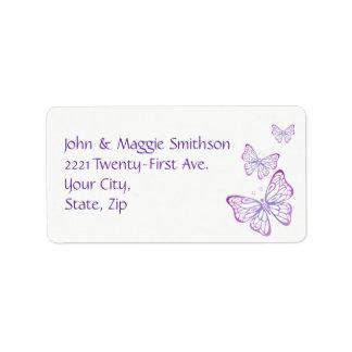 Purple Mauve Pink Classy Garden Butterfly Label