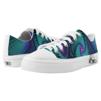 Purple meets Turquoise modern abstract Fractal Art Low Tops