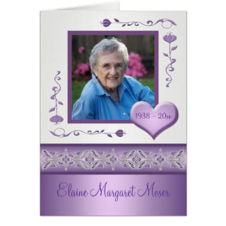 Purple Memorial Card with Photo