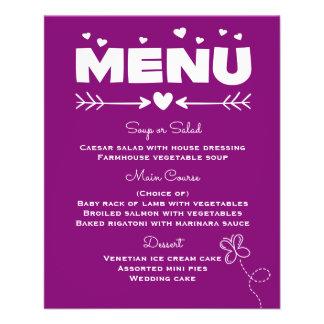 Purple Menu With Butterfly & Hearts Wedding 11.5 Cm X 14 Cm Flyer