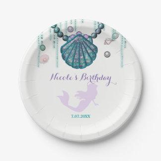 Purple Mermaid Beach Bling Birthday Party Custom Paper Plate
