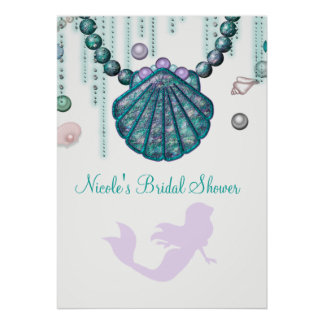 Purple Mermaid Beach Bling Party Banner Poster