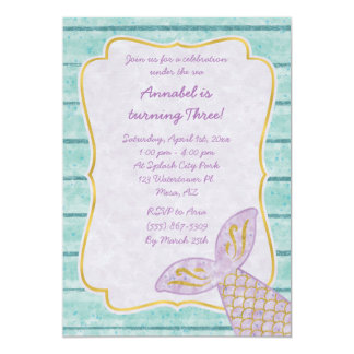 Purple Mermaid Invitation with Gold and Aqua Blue