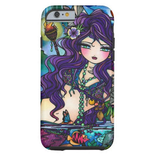 Purple Mermaid Marine Fantasy Fire Art iPhone 6 ca iPhone 6 Case