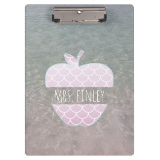 Purple Mermaid Ocean Apple Personalized Teacher Clipboard