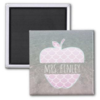 Purple Mermaid Ocean Apple Personalized Teacher Magnet