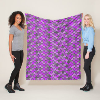 Purple Mermaid Scales Pattern Fleece Blanket