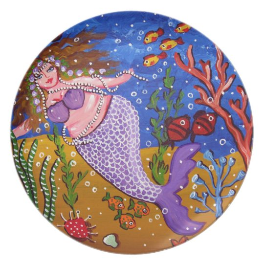 Purple Mermaid Whimsical Folk Art Plate
