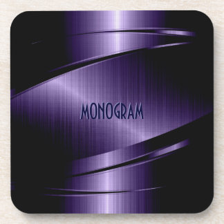 Purple Metallic Design Stainless Steel Look Coaster